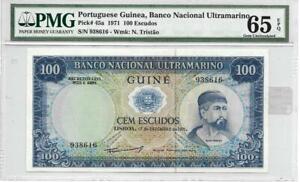 Portuguese Guinea 1971 100 Escudos P45a PMG graded 65 EPQ