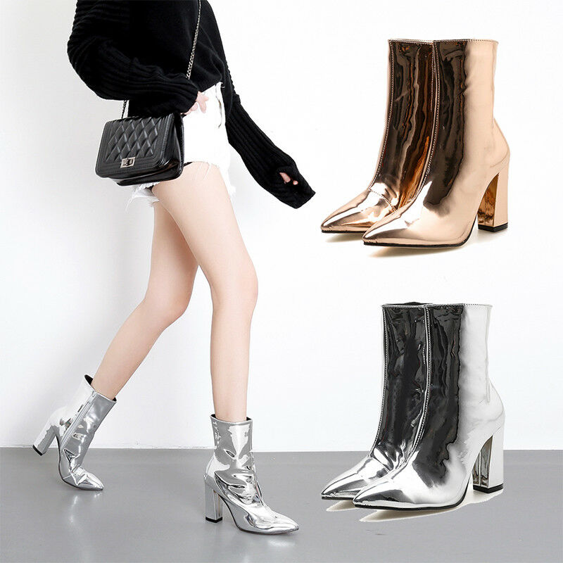 Women Patent Leather High Block Heel Pointed Toe Bright Ankle Boots Knight shoes