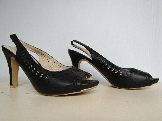New Anne Michelle Peep Toe Cut Outs Slingback Black High Heels Shoes UK 6 EUR 39
