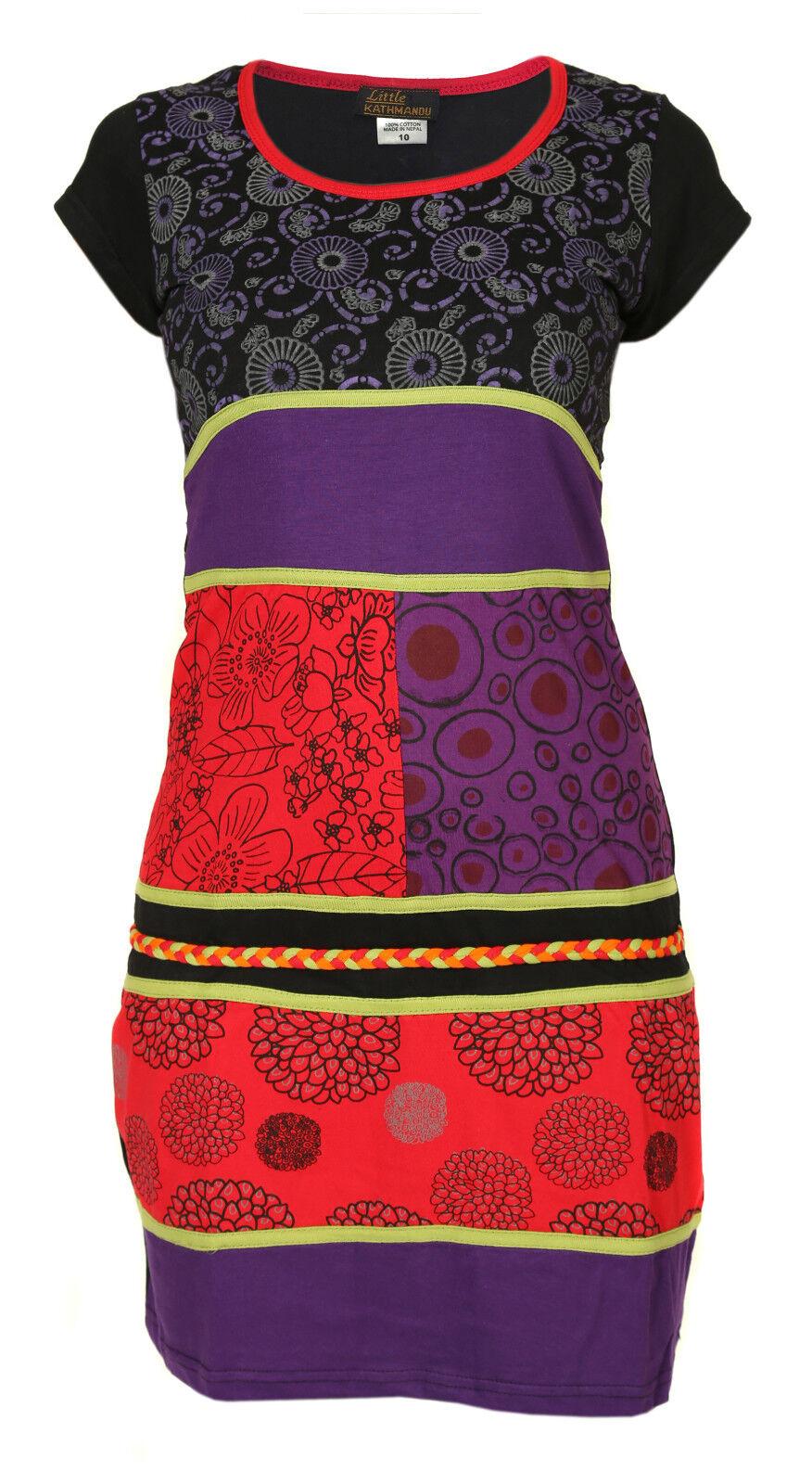 Artigianale Cotone Hippie NATURALE Kathmandu abito abito abito boho rétro patchwork ccd6dd