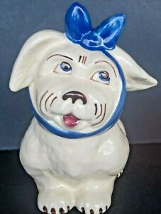 VINTAGE-SHAWNEE-MUGGSY-034-DOG-WITH-TOOTHACHE-amp-BLUE-BOW-034-COOKIE-JAR-EXCELLENT