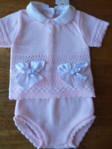 6-12 MTHS BNWT WHITE KNITTED 2 PIECE 3-6 SPANISH STYLE BABY GIRLS PINK