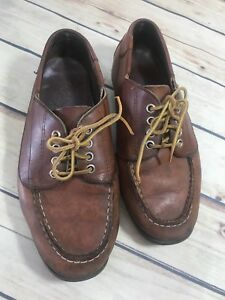 St-Johns-Bay-Womens-7-5M-Brown-Leather-Lace-Up-Shoe-Casual-Boat-Oxford-Vtg-Look