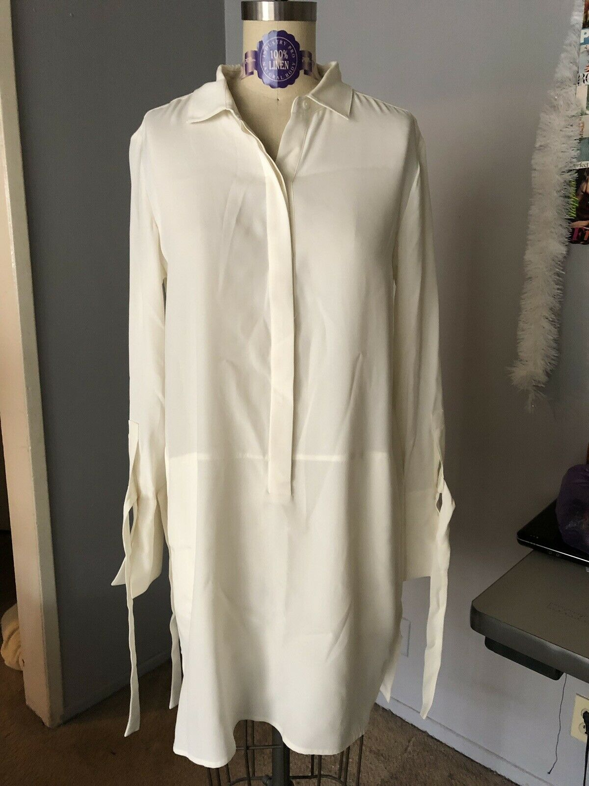 Halston Heritage High Low Button Down Ivory Blouse Dress with Pockets Größe 2
