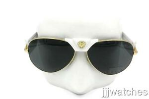 11c97be5343 Image is loading Versace-Gold-Aviator-Polished-White-Sunglasses-Gray-Lens-