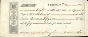 1848 Baltimore Maryland (MD) Contract N W Goldsborough Baughman,Nicholson Damon