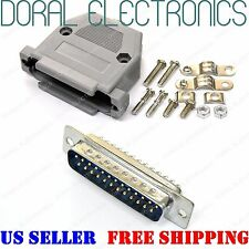 DB25 25-Pin Male Solder Cup Connector Plastic Hood Shell & Hardware DB-25