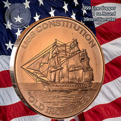 """Old Ironsides/"""" 1oz .999 Copper 20 rounds 1 Roll in Tube 20 /""""USS Constitution"""