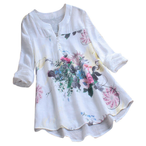 Women Vintage V-Neck Floral Printing Patch Long Sleeves Top T-Shirt Blouse DZ