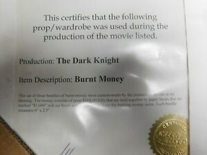 Dark-knight-screen-used-burnt-money-COA-Heath-Batman-replica-prop-bill-Joker
