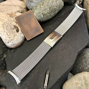 Stainless-Steel-Expansion-Mesh-Evinger-USA-Vintage-Watch-Band-nos-Lowest-Price