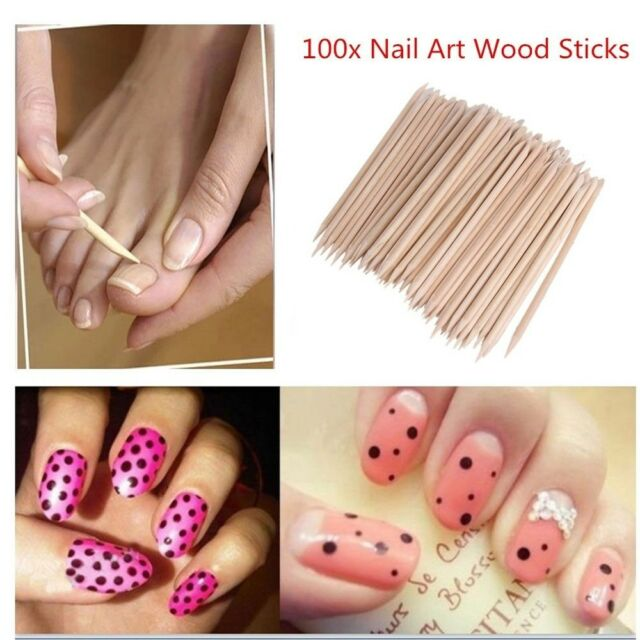 100pcs Nail Art Orange Wood Stick Cuticle Pusher Remover for Manicures Nail NP5
