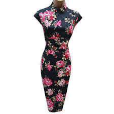 KAREN MILLEN Red Rose Print Oriental Chinese Cocktail Cruise Wiggle Dress 12 UK