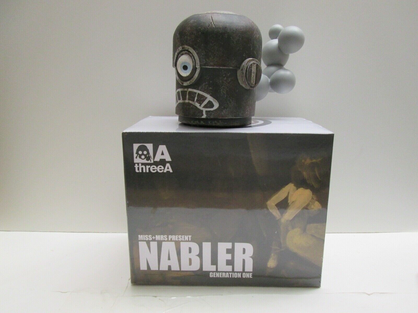 ThreeA Ashley Wood 3A Popbot NABLER Robot Head Rare Generation One Black Frown