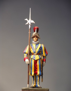 Halberdier of Pontical Swiss Guard 54mm 1  32 Tin Målad leksak SoldierKonst