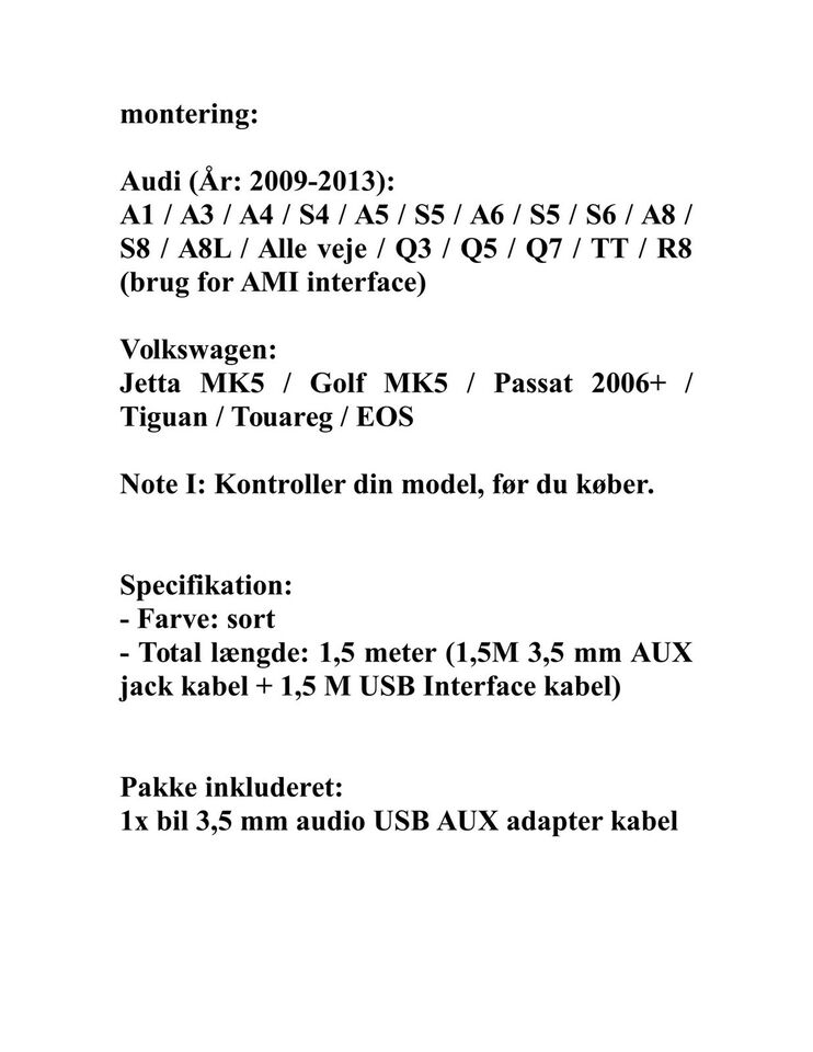 VW Audi AMI MMI MDI Music Interface