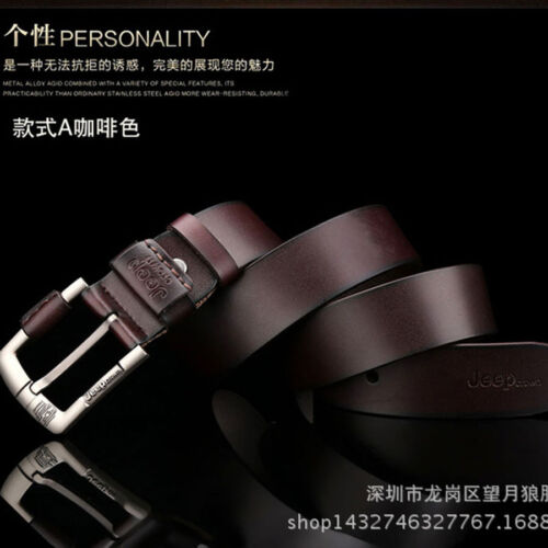 Mens Belt Genuine Real Leather Smooth Girdle Buckle Waistband Waist Band Strap