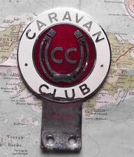 Vintage Chrome Car Mascot Badge : THE CARAVAN CLUB CC Horseshoe B