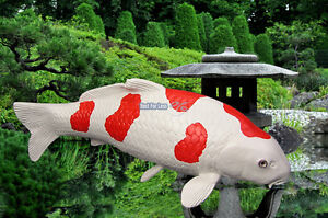 kohaku koi karpfen fisch figur gartenteich fan deko japan garten dekoration neu ebay. Black Bedroom Furniture Sets. Home Design Ideas