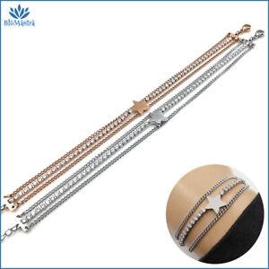 Bracciale da donna multifilo tennis con stella braccialetto in acciaio inox per