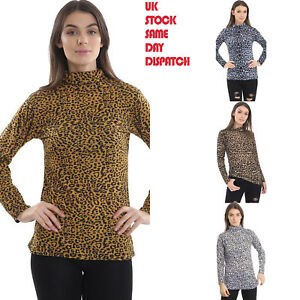 552dd7b432018 Ladies Womens Tops Leopard Print Polo Roll Neck Casual T Shirt ...