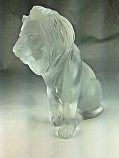 Large Vintage Authentic Lalique France Frosted Glass Bamara Lion Statue