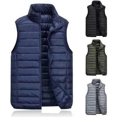 Mens Vests F/_Gotal Mens Outdoor Casual Stand Collar Padded Vest Coats Black