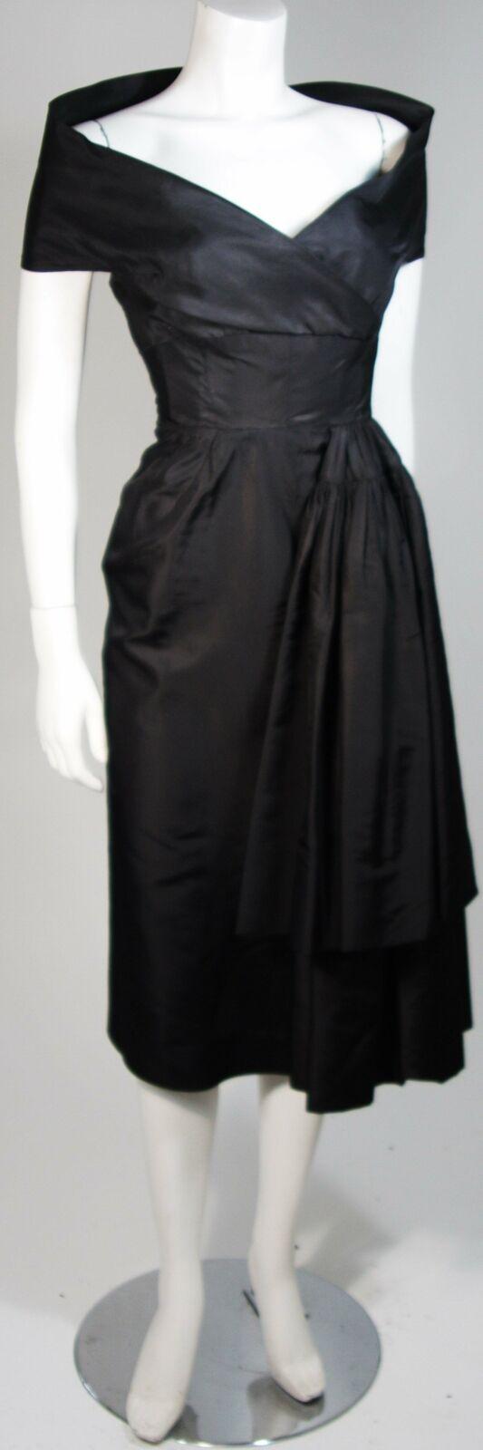 CEIL CHAPMAN  Black Cocktail Dress with Draped De… - image 4