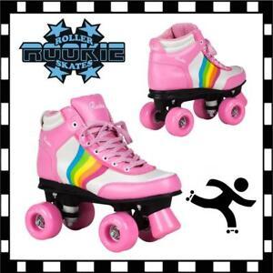 New-Rookie-Forev-Rainbow-V2-Girls-Pink-Quad-Wheels-Roller-Skates-rrp-70-on-Sale