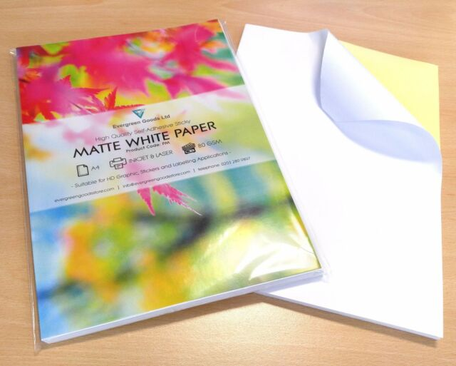 picture regarding Clear Printable Paper referred to as A4 White MATT Self Adhesive / Sticky Back again Paper Sheet Sticker Printable Label