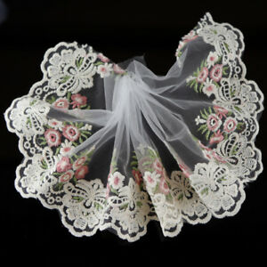 2Yds-Floral-Embroidered-Tulle-Lace-Trim-Dress-Costume-Home-DIY-Decor-SewingCraft