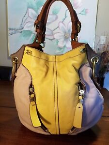 Image Is Loading Oryany Pebble Leather Colorblock Victoria Large Hobo Custard