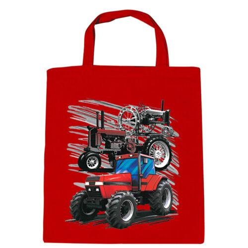 Baumwolltasche Tasche Stofftasche Shopper Print Traktor Traktoren 88309 rot
