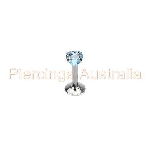 16G Internally Threaded CZ Heart Labret Lip Bar Ring Monroe Piercing Jewellery