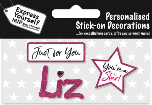 Liz Pink Name Sticker DIY Greeting Card Toppers Personalise Cards Gifts