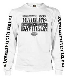 Harley-Davidson-Men-039-s-Distressed-Freedom-Fighter-Long-Sleeve-Shirt-White