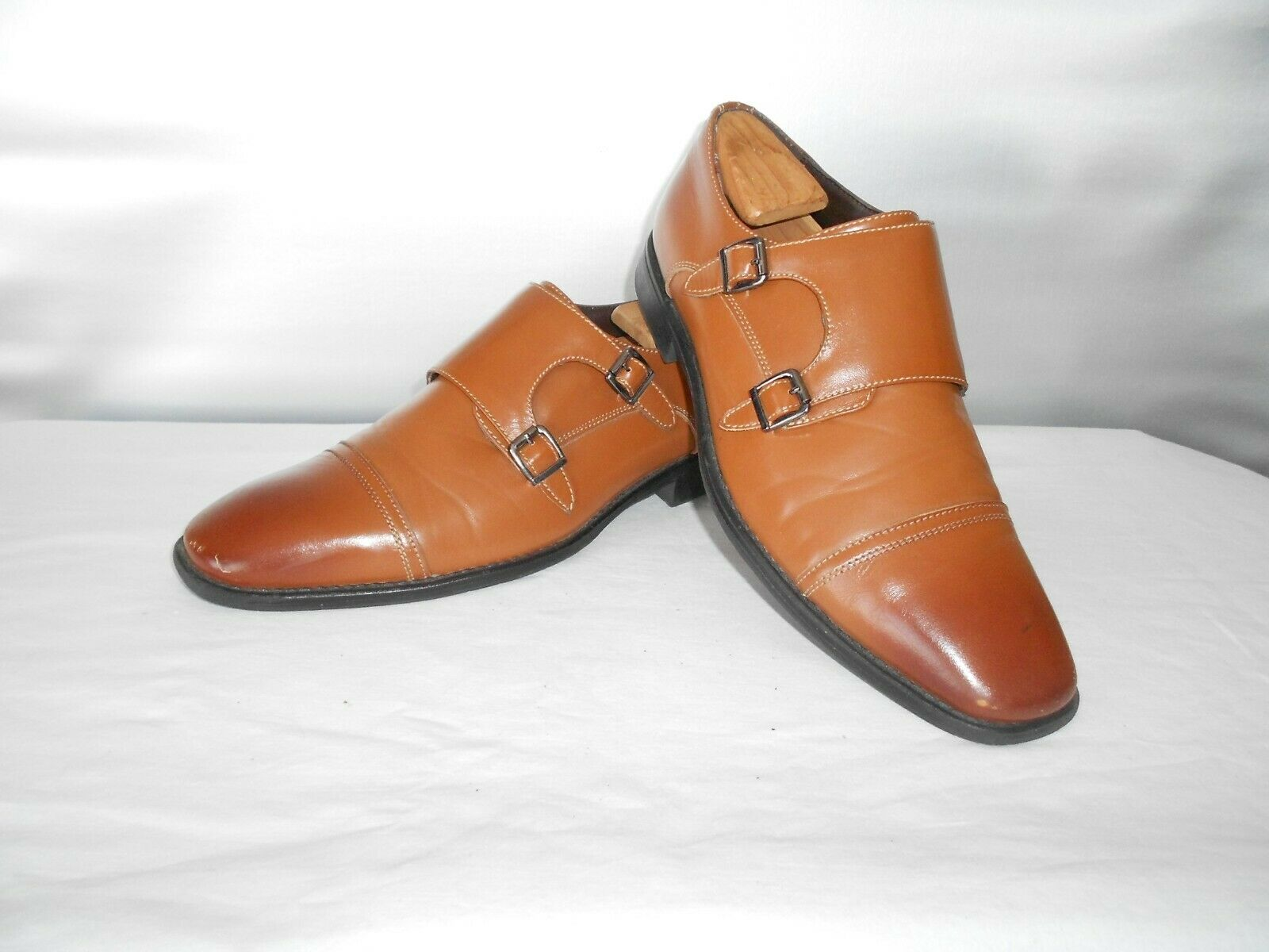 Men's J75 by Jump Tan Leather Woodmere Dress Monk Shoes 8.5 D