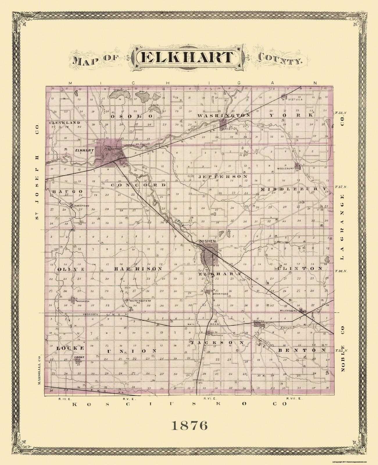 Elkhart Indiana Landowner - Andreas 1876 - 23 x 28.25