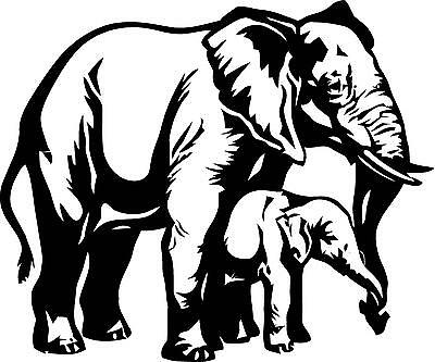 Elephant and baby vinyl wall decal