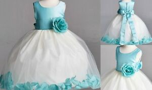 Aqua Easter Spring Wedding Bridesmaid Pageant Toddler Gown Flower Girl Dress#22