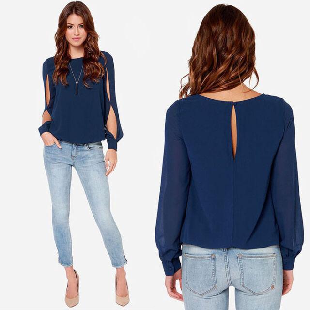 Fashion Women Loose Sexy Long-sleeved Chiffon Casual Blouse Shirt Tops Useful