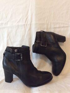 Tu Black Ankle Leather Boots Size 7 | eBay