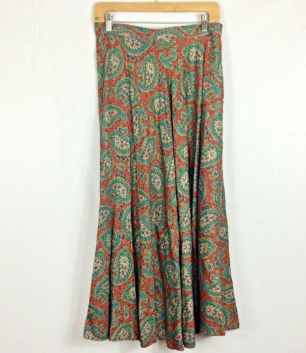 Ralph Lauren Maxi Skirt Red Green Paisley Print R… - image 1