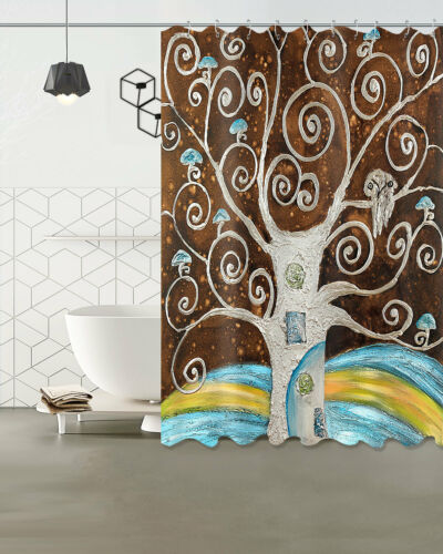 "Mushroom tree 72/"" 79/"" Bathroom Polyester Fabric SHOWER CURTAIN MAT 12 HOOKS 6347"