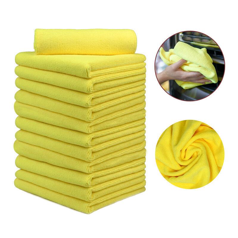 12 Pcs Microfiber Towels Car Boat Wash Clean Dry Polishing Cloths 16 x24  Yellow