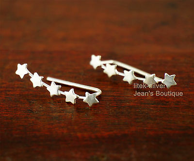 925 Sterling Silver Feather Leaf Climber Crawler Cuff Earrings for Women A1292