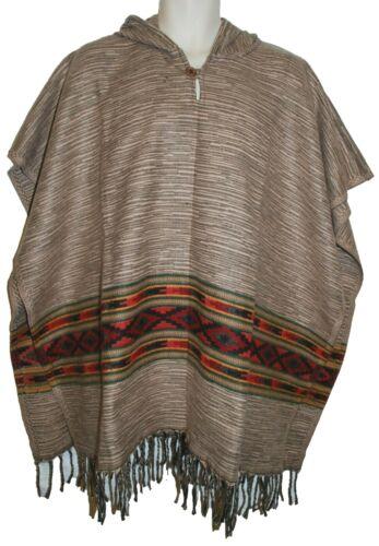 New Fair Trade Acrylic Fleece Poncho Free Size Ethnic Boho Hippy Hippie Square