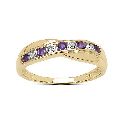 9 Karat Gold Amethyst & Diamant Kanal Set Ewigkeit Ring Größe I - W Jubiläum
