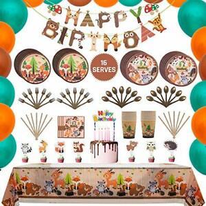 Woodland Animal birthday Party Tableware Supplies Set