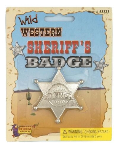 Cowboy Sheriff Western Badge Old West Plastic Silver Star Costume Accessory Prop